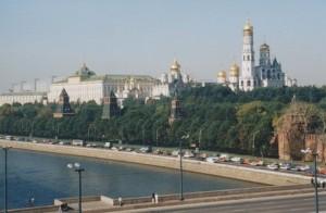 Kremlin across river, Moscow