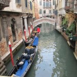 Venice. Gondola in a canal